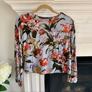 Zara Floral Longsleeve Crop Top Red + Blue, Sz XS
